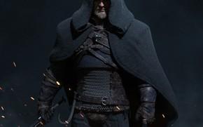 Картинка искры, капюшон, the witcher, плащ, ведьмак, персонаж, Геральт, Геральт из Ривии, cloak, sparks, Geralt From …