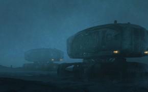 Картинка Зима, Ночь, Рисунок, Снег, Машины, Арт, Art, Техника, Фантастика, Illustration, Concept Art, Транспорт, Vehicle, scifi, ...