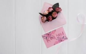 Картинка цветы, бутоны, конверт