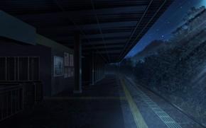 Картинка деревья, ночь, станция