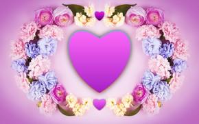 Картинка цветы, сердце, Valentine's Day, День Святого Валентина
