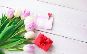 Картинка любовь, цветы, подарок, сердце, букет, тюльпаны, love, розовые, heart, pink, flowers, beautiful, romantic, tulips, valentine's …
