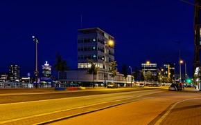 Картинка дорога, ночь, огни, дома, Амстердам, фонари, Нидерланды