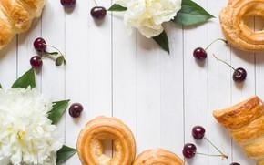 Картинка цветы, ягоды, white, черешня, выпечка, пирожные, пионы, cherry, cakes, peonies