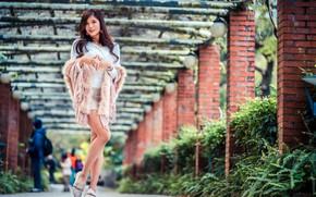 Картинка взгляд, модель, юбка, портрет, макияж, прическа, туфли, блузка, шатенка, ножки, азиатка, красотка, стоит, позирует, боке