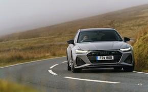 Картинка туман, Audi, поворот, универсал, RS 6, 2020, 2019, V8 Twin-Turbo, RS6 Avant, UK-version