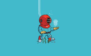 Картинка minimalism, blue background, digital art, artwork, jellyfish, simple background, algae, Diver, diving suits