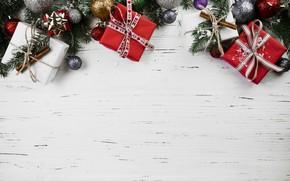 Картинка шары, елка, Новый Год, Рождество, подарки, Christmas, balls, wood, New Year, decoration, gifts, Merry, fir …