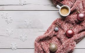 Картинка украшения, шары, шарф, Новый Год, Рождество, Christmas, balls, cup, New Year, coffee, decoration, чашка кофе, …