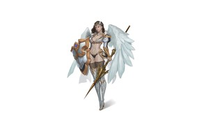 Картинка Girl, Fantasy, Art, Style, Fiction, Illustration, Minimalism, Shield, Wings, Valkyrie, Spear, Character, NamGyeong Lee