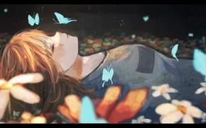 Картинка девушка, бабочки, цветы, спит