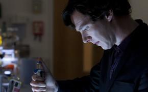 Картинка Шерлок Холмс, лаборатория, Бенедикт Камбербэтч, Benedict Cumberbatch, Sherlock, Шерлок, Sherlock BBC, Sherlock (сериал)