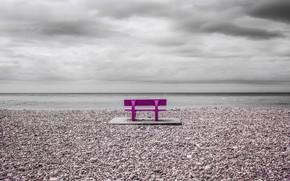 Картинка пляж, берег, скамья