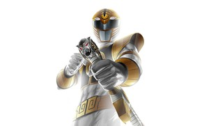 Картинка sword, armor, white tiger, Power Rangers, Saba, white ranger, Tommy Oliver