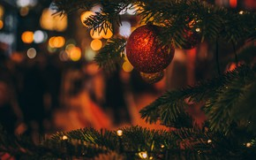 Картинка зима, шарики, ветки, праздник, шары, игрушки, блеск, огоньки, Рождество, красные, Новый год, ёлка, гирлянда, хвоя, …