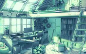 Картинка Гитара, Компьютер, Свет, Комната, Окна, Вещи, Art, Wall, Освещение, Illustration, Room, Книги, Window, Apartment, Books, …