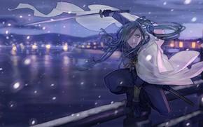 Картинка мост, меч, парень, Touken ranbu, Танец Мечей