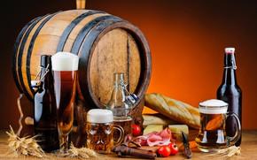 Картинка пиво, сыр, бочка, помидоры, ветчина