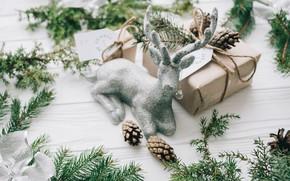 Картинка украшения, елка, Новый Год, Рождество, подарки, Christmas, шишки, wood, New Year, decoration, gifts, Merry, fir ...