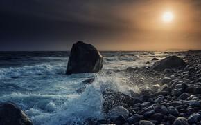 Картинка море, закат, камни, побережье, Норвегия, Norway, Mølen, Пролив Скагеррак, Skagerrak Strait, Molen Beach, Brunlanes, Пляж …