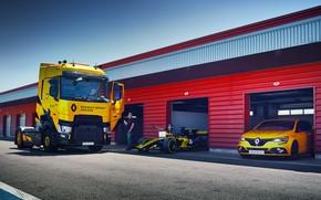Картинка дорога, транспорт, гараж, Renault, автомобиль
