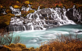 Картинка скала, водопад, поток, каскад, Исландия