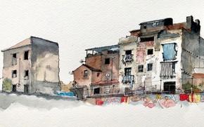 Картинка город, дом, рисунок