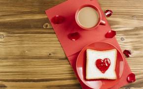 Картинка кофе, лепестки, heart, джем, jam, тост, Toast