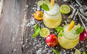 Картинка лед, напиток, мята, персик, лимоны, ломонад
