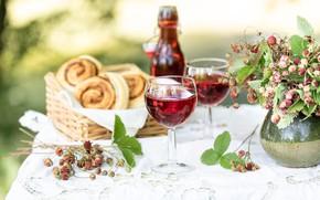 Картинка лето, вино, бокалы, натюрморт, булочки