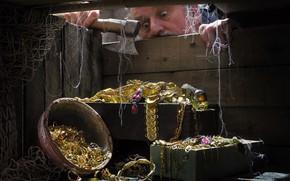 Картинка сеть, мужчина, топор, драгоценности, ящик, сокровища, Сергей Фунтовой