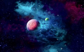 Картинка space, nebula, cloud, planets, galaxy, 2k hd widescreen background