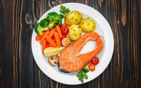 Картинка стол, рыба, тарелка, картофель