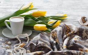 Картинка кофе, тюльпаны, украшение, платок, Andrey N.Cherkasov