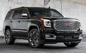 Картинка car, машина, внедорожник, чёрная, black, спереди, колёса, GMC, большая машина, GMC Yukon Denali, GMC Yukon, …