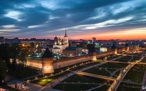 Картинка город, вечер, освещение, Кремль, Тула, Илья Гарбузов