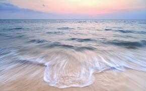 Картинка песок, море, волны, пляж, лето, небо, закат, берег, summer, beach, sea, sunset, seascape, sand, wave