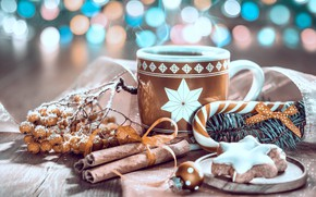 Картинка кофе, Рождество, пряности, пряник