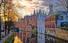 Картинка дома, канал, Бельгия, архитектура, Брюгге