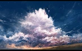 Картинка небо, облака, природа, луч