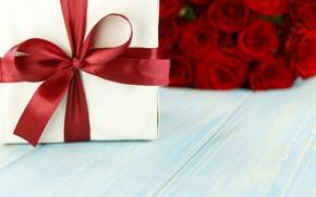 Картинка цветы, подарок, розы, букет, красные, red, love, flowers, romantic, valentine's day, roses, gift box