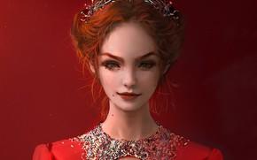 Картинка веснушки, рыжая, красное платье, диадема, родинки, портрет девушки, полуулыбка, by NIXEU