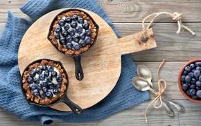 Картинка ягоды, черника, крем, десерт, ваниль, тарталетки