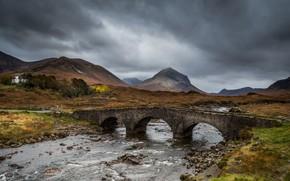 Картинка house, river, sky, bridge, land, mountains, clouds, rocks, landscapes, Iceland, gray, stream, cloudy, 4k uhd …