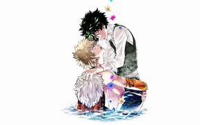 Картинка вода, парни, Boku no Hero Academia, My Hero Academia, Мидория Изуку, Моя геройская акадеимя, Бакуго …
