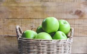 Картинка фон, яблоки, доски, еда, зеленые, фрукты, корзинка