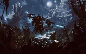 Картинка Ночь, Луна, Воин, Солдаты, Битва, Fantasy, Art, Световой Меч, Фантастика, Jedi, Джедай, Sword, Orcs, Орки, …
