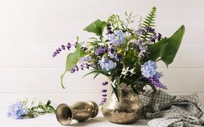 Картинка цветы, стол, букет, ваза, кувшин, композиция, Bouquet
