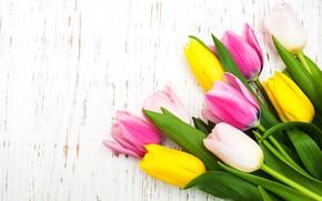 Картинка цветы, букет, тюльпаны, розовые, yellow, wood, pink, flowers, tulips