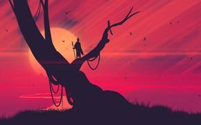 Картинка Закат, Солнце, Вечер, Минимализм, Дерево, Птицы, Стиль, Fantasy, Арт, Art, Шаман, Shaman, Иллюстрация, Josef Bartoň, …